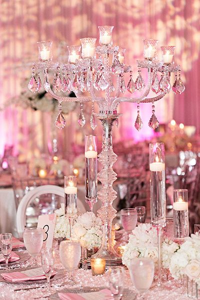 DECOR | Centerpiece - Can't get enough bling? A crystal candelabra delivers sparkle and shine factor.