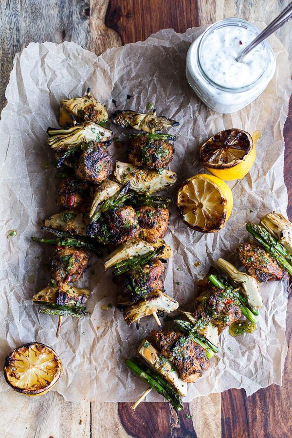 Spring Veggie & Lemon Moroccan Chicken Skewers with Minted Goat Cheese Yogurt