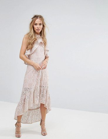 FOXIEDOX Halter Neck Lace Hi-Low Dress  250087722