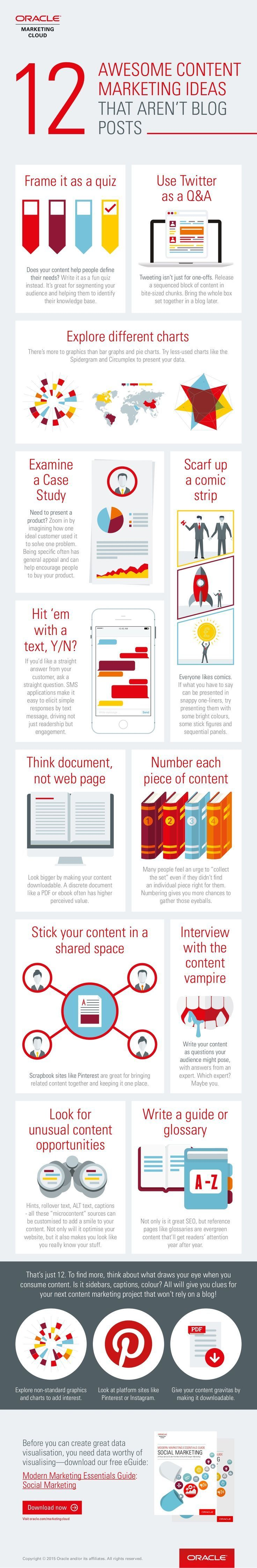 12 Awesome #ContentMarketing Ideas That Aren't Blog Posts - #infographic AND Take this Free Full Lenght Video Training on HOW to Start an Online Business
