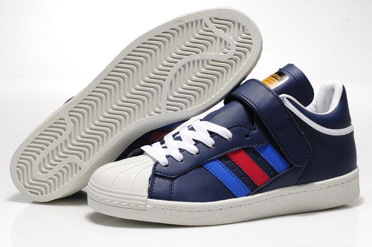 Adidas Originals Big Tongue Leather Shoes Men Dark Blue White