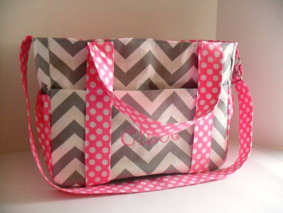 Monogrammed Extra Large Diaper bag Made of Gray by fromnancy, $94.00