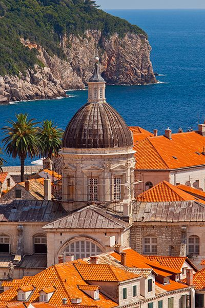 Orange roof-tops and church domes of Dubrovnic, Croatia