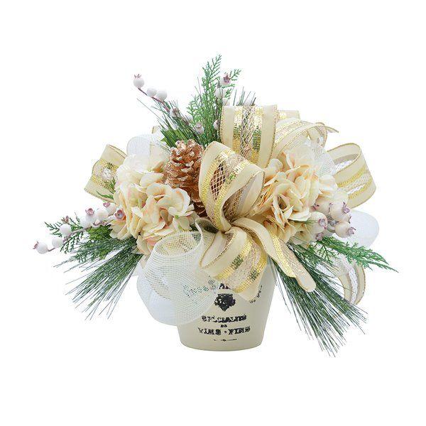 Hydrangea And Berry Centerpiece In Pot Christmas Arrangements Centerpieces Hydrangea Arrangements Holiday Arrangement