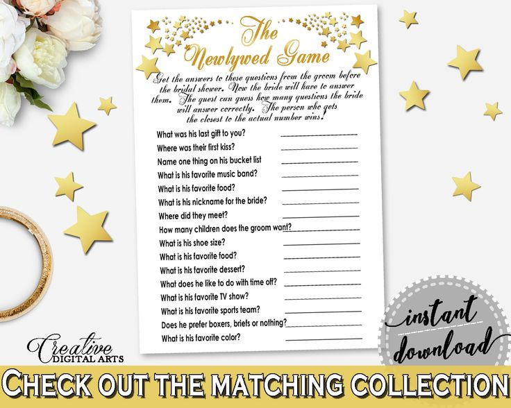 White And Gold Gold Stars Bridal Shower Theme: The Newlywed Game - wedding game, glamor bridal shower, party planning, party stuff - 6GQOT #bridalshower #bride-to-be #bridetobe