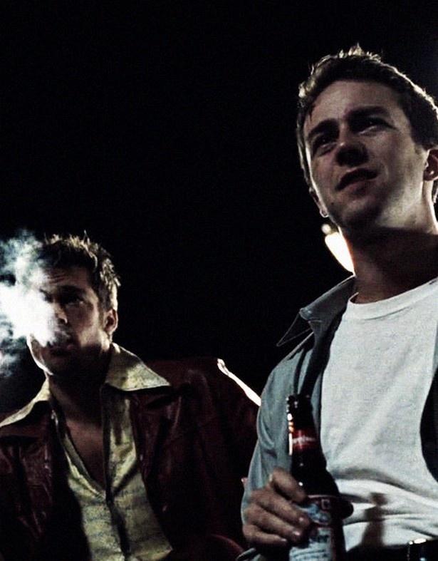 Brad Pitt and Edward Norton in 'Fight Club' (Film; 1999)