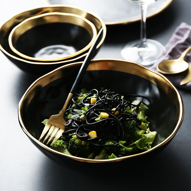 1pc Minimalist Dinner Bowl Black Gold Ceramic Rice Bowl With Golden Edge Dinnerware Soup Noodle Decorative Bowl Dinner Bowls Dinnerware Decorative Bowls
