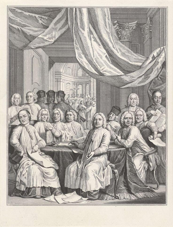 Jacob Folkema | Gezelschap van geestelijken rond een tafel, Jacob Folkema, Hendrik Pothoven, 1735 - 1767 | Rond een tafel zitten en staan geestelijken onder een baldakijn. Enkelen dragen een kalot of biretta op het hoofd en zijn gehuld in hermelijnen mantels. Op de achtergrond is door een deur zicht op een kerkinterieur.