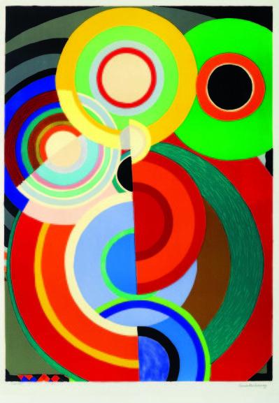 Sonia Delaunay, née en Ukraine et morte en 1979 à Paris, est une artiste peintre du mouvement moderne. Son travail est très orientée vers l'art l'art abstrait, elle crée en 1946 le Salon des réalités nouvelles uniquement pour promouvoir l'abstraction....