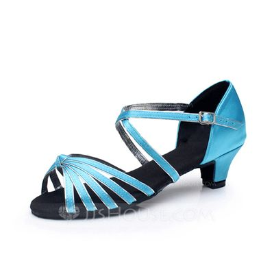 Women's Kids' Satin Leatherette Heels Sandals Latin With Ankle Strap Dance Shoes (053065767)