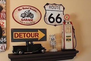 Route 66 decor ideas - she bought same stuff I bought at Hobby Lobby
