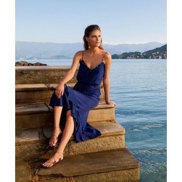Solid Lana Navy Long Dress by Vix