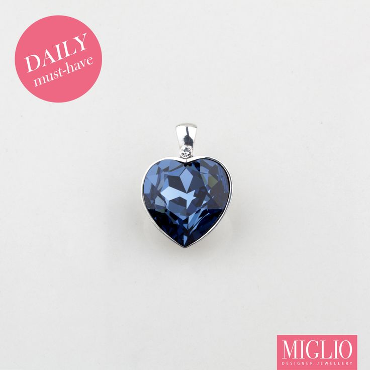 Daily #musthave product - pop of colour with #migliodesignerjewellery blue #Swarovski #crystal #pendant EN1192