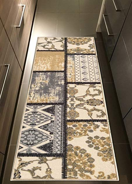 Kapaqua Rubber Backed 22 X 20 Grey Ivory Fancy Patchwork Long Runner Non Slip Rug Rana Collection Kitchen Dining Living Hallway Bathroom Pet Entry
