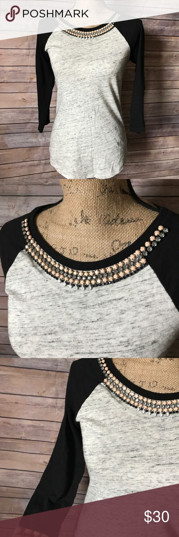 J.Crew Jeweled Collar Baseball Tee J.Crew baseball style tee. Beautiful beading around the collar. Perfect with a pair of cropped jeans! Size small. J. Crew Tops Tees - Long Sleeve