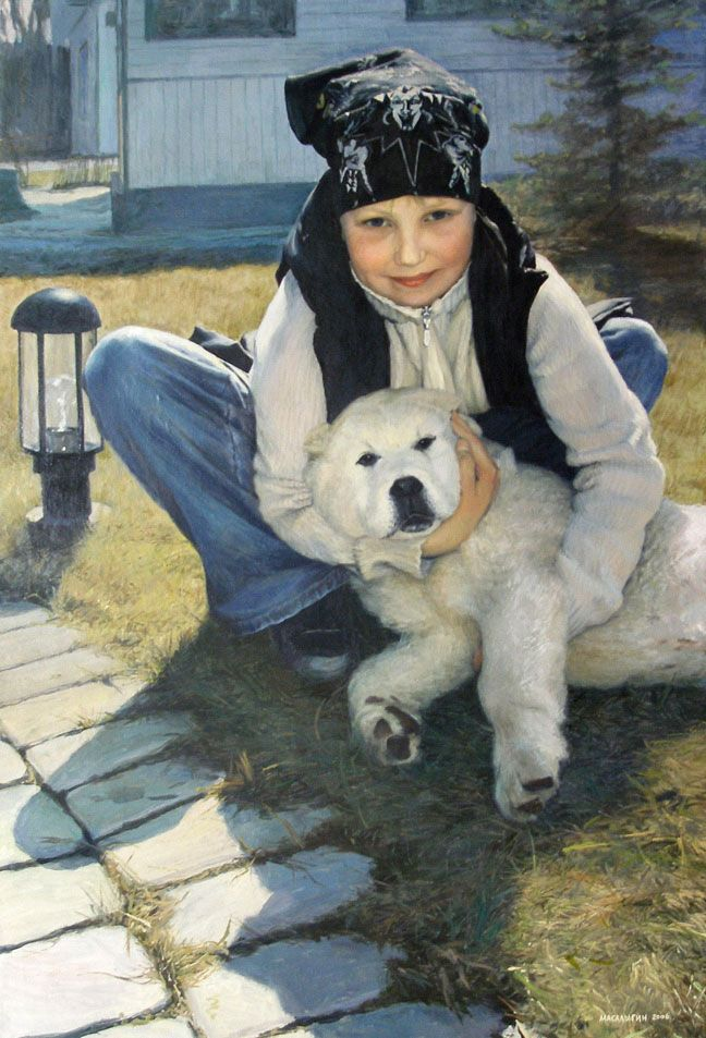 Girl with a Dog. Portrait.