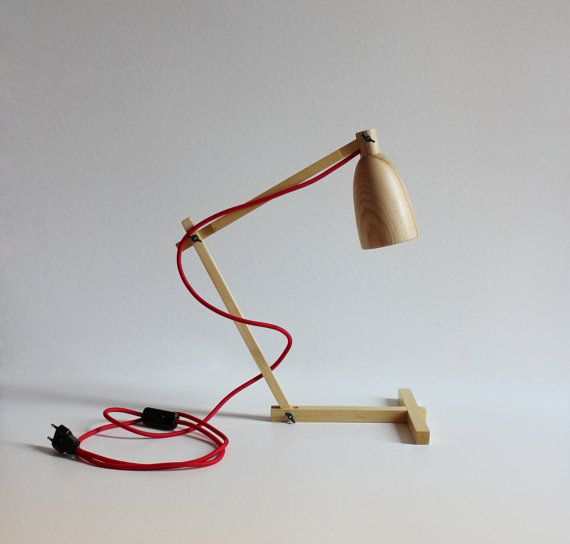 "Wooden table lamp ""Fingerprint II"", made from ash, modern, wooden shade, wooden base, handmade"