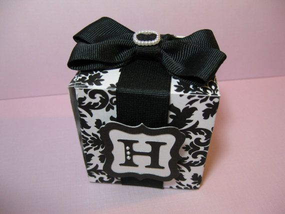 10 Black White Damask Wedding Favor Boxes by Parischick on Etsy, $36.00