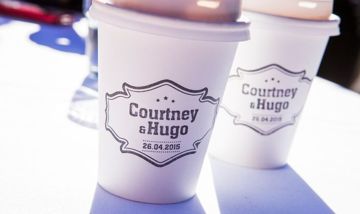 Bride and Groom stamps on coffee cups - Coffee Van in backyard wedding  Salt Studios  Toowoomba Wedding and Commercial Photography