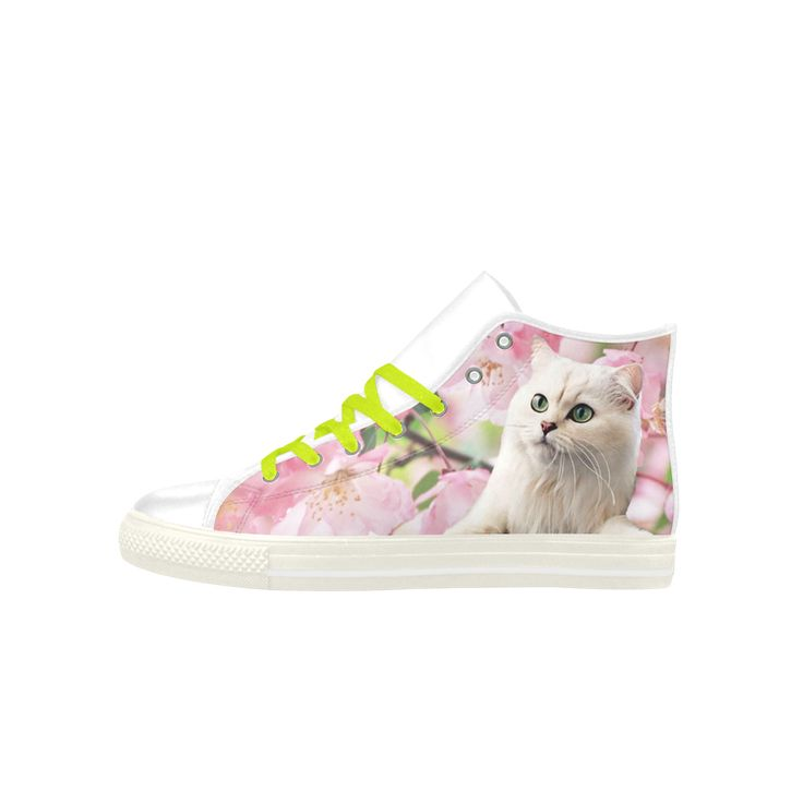 Cat and Flowers Aquila High Top Action Leather Women's Shoes. FREE Shipping. FREE Returns. #artsadd #sneakers #cats