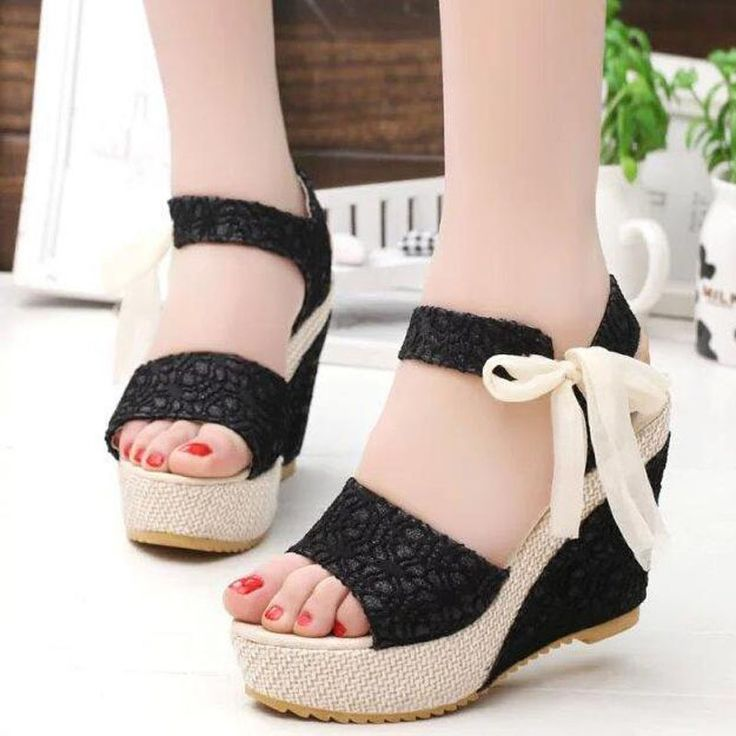 2016 Summer Hot Sale Sweet Women Fashion Lace Patchwork Wedges High Heels Sandals  Casual Peep Toe