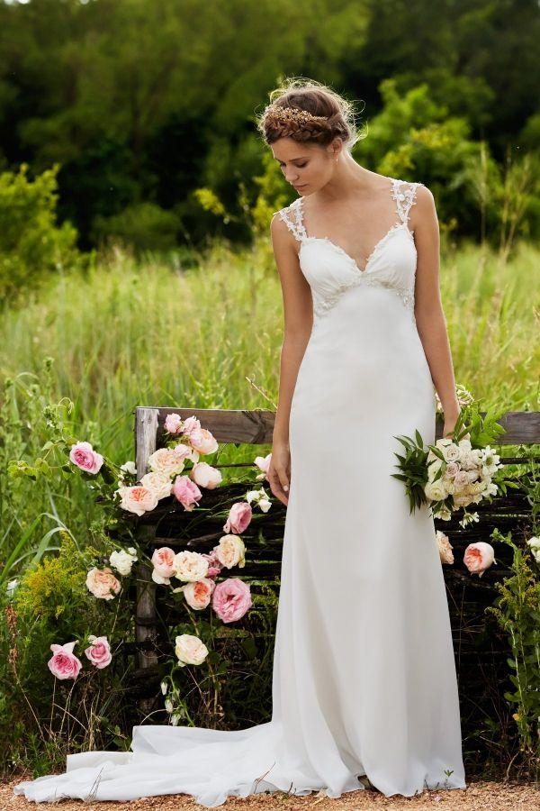 Foto 15 de 37 Rosalie: Romántico vestido de novia en seda georgette con corte imperio   HISPABODAS