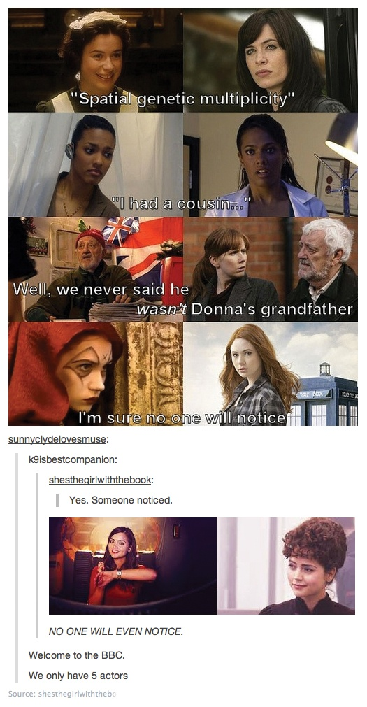 Can I just say how annoyed I am with the addition of Jenna-Louise Coleman to my pic. It misses the whole point! She wasn't an actor hired for one small role on DW, who later got a larger role. She was hired for the entire Clara/Oswin Companion role right from the start. :P
