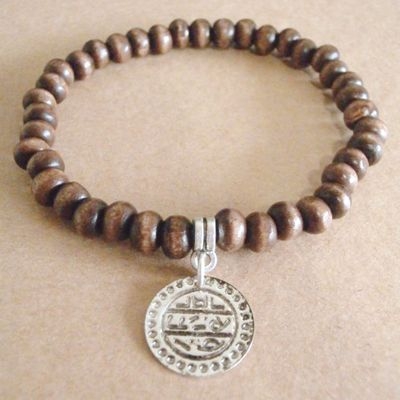 Delia wood & silver turkish coin bracelet
