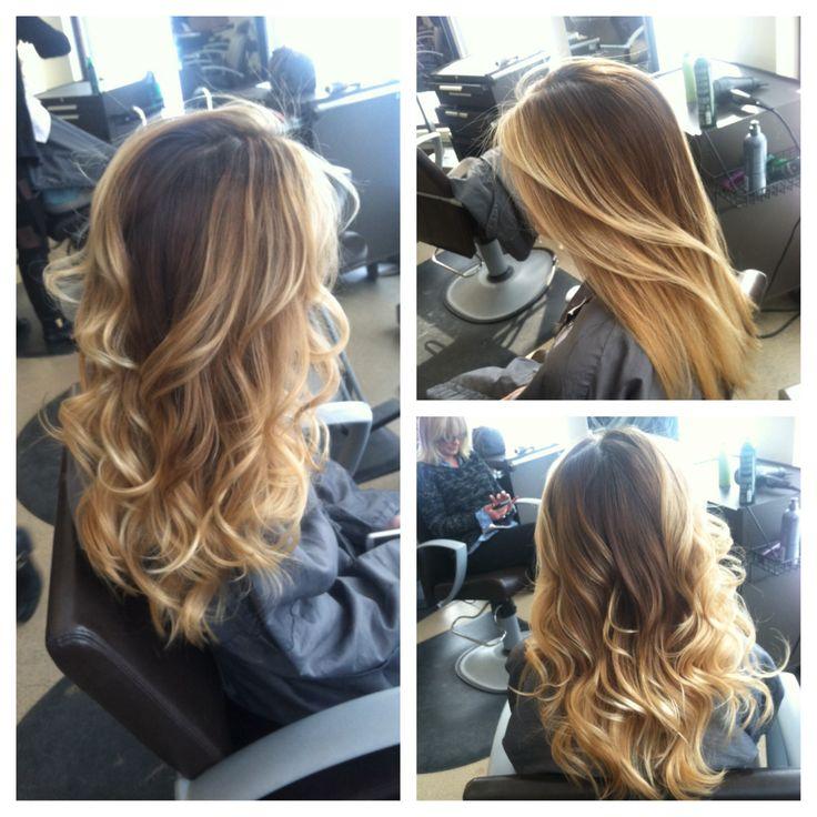 Color melt, balayage, hair painting, highlights, warm blonde