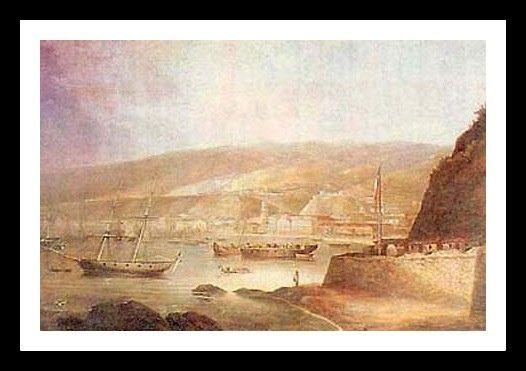 1836 - Valparaiso con bandera chilena, Charles Wood   1836 - Valparaiso con bandera chilena, Charles Wood Valparaiso, Charles Wood, su principal aporte a Chile fue el diseño del escudo nacional, en 1834 y junto al español Antonio Arcos, realizó el dibujo de la actual bandera nacional