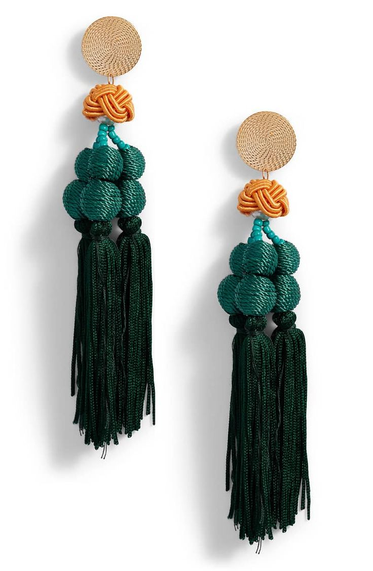 Encanto tassel earrings main color teal jewelry in