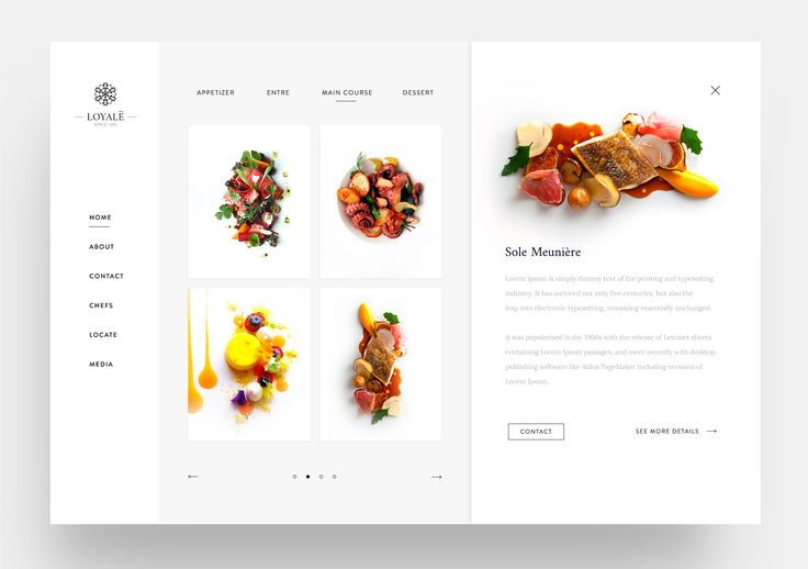 Fine Dining Restaurant Web Ui