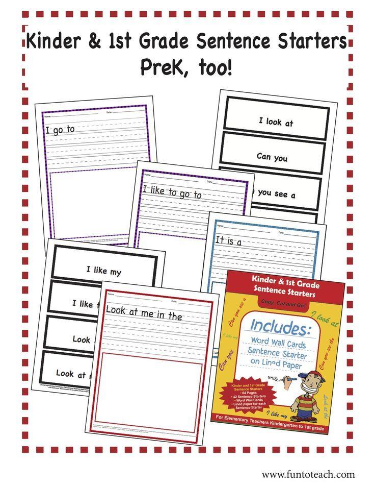 Prek Kinder 1st Grade Sentence Starters A 64 Page Sentence Starters Packet Packed With 42 Great S Sentence Starters First Grade Writing Worksheet Template 1st grade sentence starters