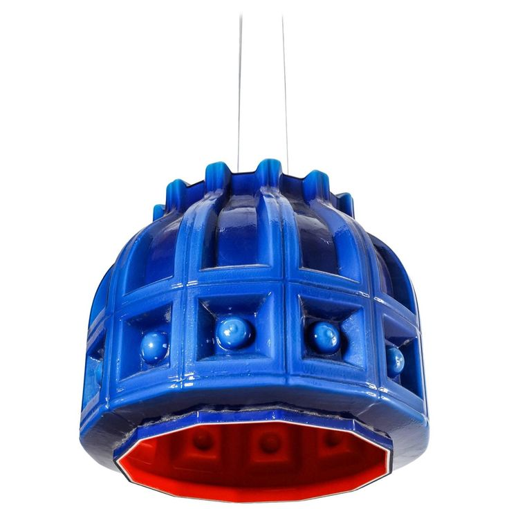 Helena Tynell Blue and Orange Glass Pendant for Flygsfors, Sweden, 1960s | From a unique collection of antique and modern chandeliers and pendants at https://www.1stdibs.com/furniture/lighting/chandeliers-pendant-lights/