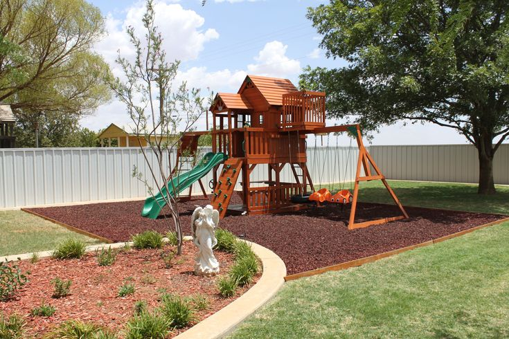 Mulch Backyard Playground : Rubber mulch in home playground and landscape surfacing!