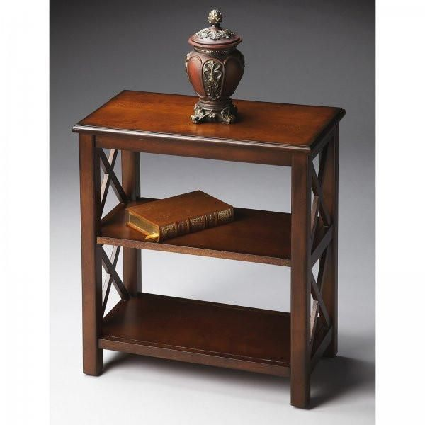 """Short 3-Tier Bookcase (Plantation Cherry) (25""""H x 22""""W x 12""""D). This Short 3-Tier Bookcase by Butler Specialty is perfect wherever  space is limited and book storage is needed. Crafted from hardwood  solids, wood products and choice veneers, the transitional book shelf  features """"X"""" side supports and cherry veneer shelves. The wooden  shelving unit is finished in Plantation Cherry on all sides for placement anywhere.  Assembly level/degree of difficulty: Moderate."""