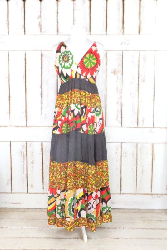 On Sale 15% off  -  Vintage brown floral tiered flowy bohemian maxi dress/hippie floral long festival dress/90s floral maxi dress by GreenCanyonTradingCo on Etsy