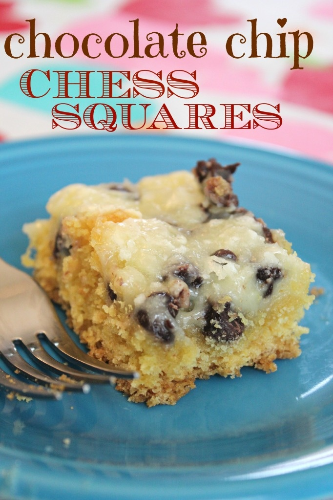 Chocolate Chip Chess Squares...ooey gooey chocolatey goodness. And EASY! This was so yummy! Erin's new fav dessert she wants us to make for her 16th next year!