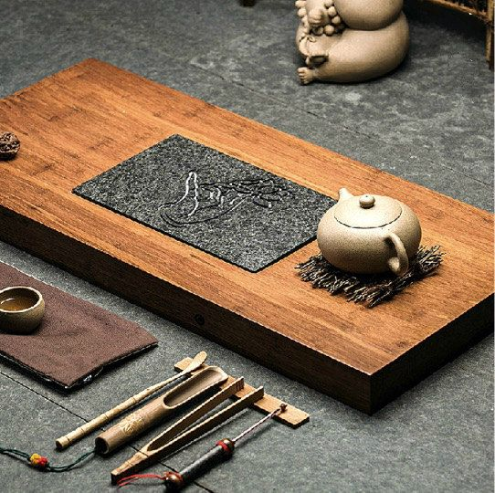 Weight Bamboo and black stone tea tray, displaying and serveing tea, tea tray…