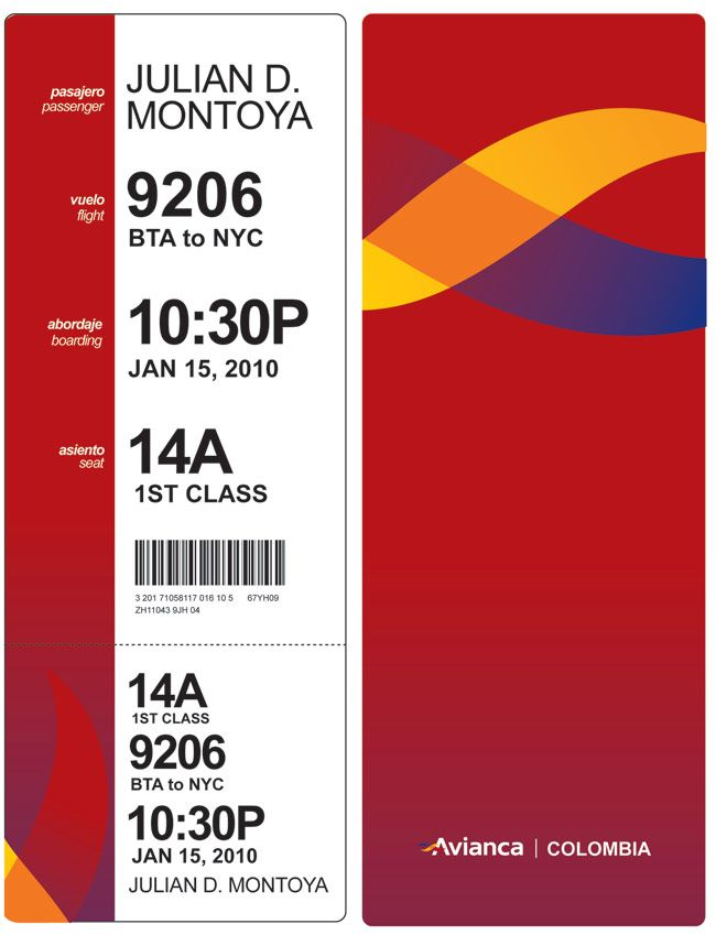Avianca boarding pass design I think this design wastes a lot of - fake plane ticket template