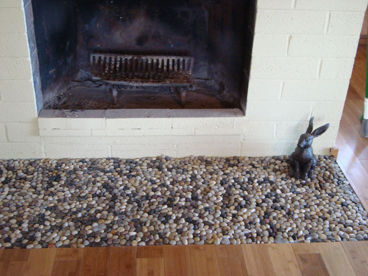 Glazed Bali Turtle Pebble Tile Fireplace Hearth Hearth