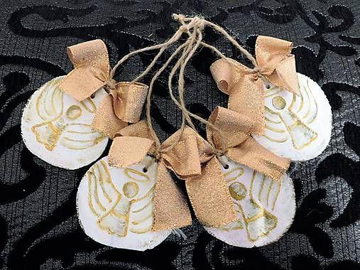 RebekaP / Zlaté anjeliky - drevené vianočné ozdôbky