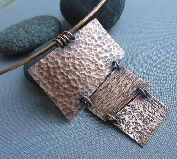 SALE 20% OFF/ Copper Necklace/ Hammered Contemporary Necklace/ Texturized copper Chocker on Etsy, $49.00