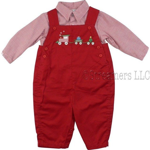 Newborn Boy Clothes  by Petit Ami- Fun Newborn Boy Holiday Longall in Red with Christmas Train Embroidery with Button Wheels, Two Pockets  in Back, Red and White Houndstooth Shirt and Trim.  So Cute!  Available in Sizes 3, 6, and 9 months.  *See Brother and Sister Outfits in Preemie Boy and Newborn Girl.  Great for Holiday Pictures!