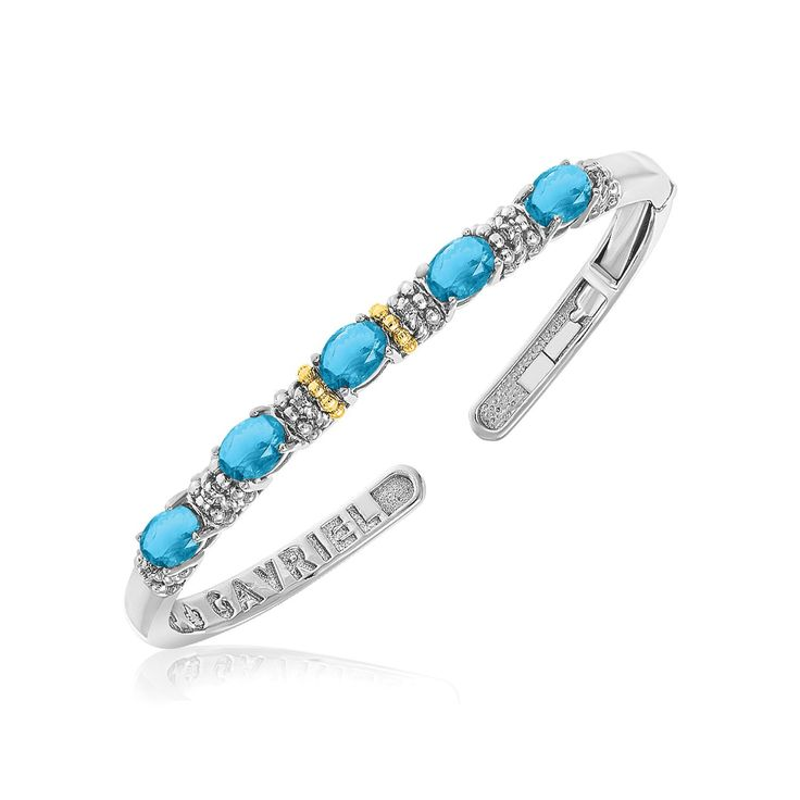 18K Yellow Gold & Sterling Silver Beaded Cuff with Blue Topaz and Diamonds