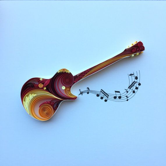 Quilled Paper Art: Gibson Les Paul by SenaRuna on Etsy