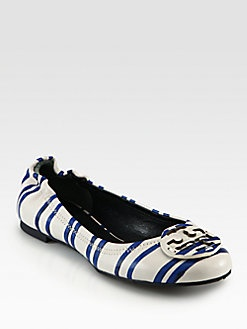 Tory Burch - Reva Striped Leather Ballet Flats