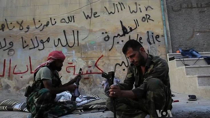 #FSA #rebels cleaning their AK47s in #Aleppo, #Syria during the #CivilWar (19 October 2012) [image credit: VOA News; Scott Bobb reporting from Aleppo, Syria]