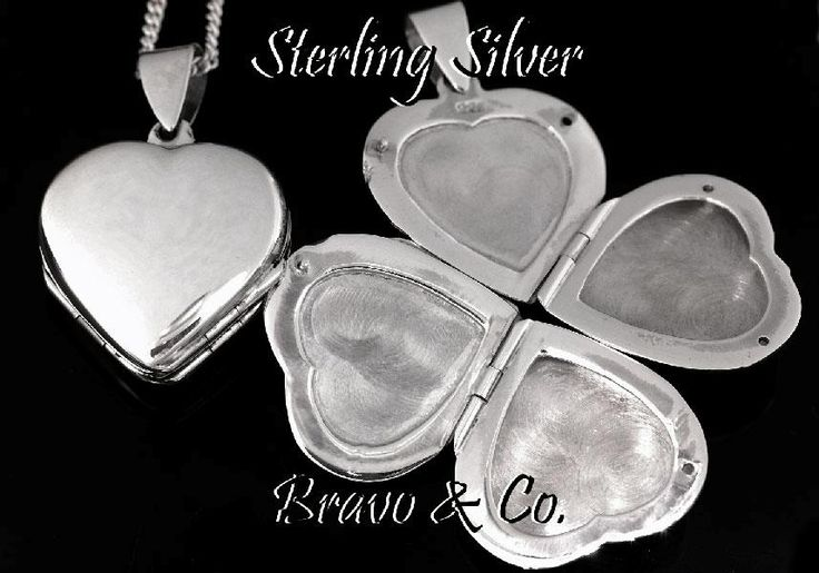 LK-137 Hallmark 925 Solid Sterling Silver 4 Photos Locket Heart Chain Necklace