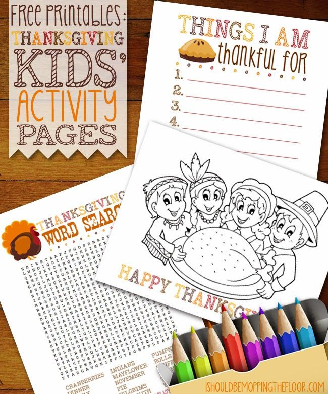 Free Thanksgiving Kids' Activity Page Printables | Instant download, fun for everyone!
